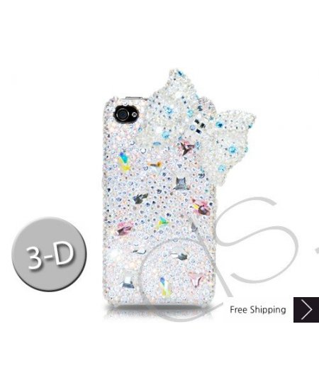 Ribbon 3D Crystallized Swarovski Phone Case - White
