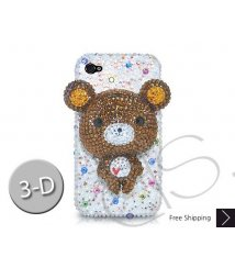 Bear 3D Crystallized Swarovski Phone Case - White