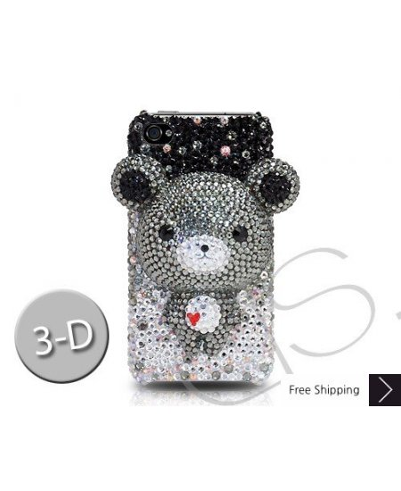 Gradation Bear 3D Crystallized Swarovski Phone Case - Black