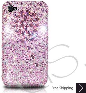 ダイヤモンドフラワー クリスタルスワロフ スキー電話ケース - ピンク