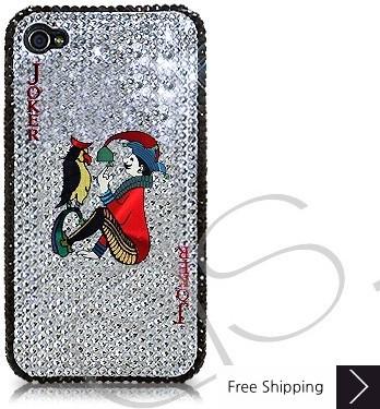 火かき棒の心ジョーカー シャネルクリスタルスワロフ スキー iPhone 4 ケース