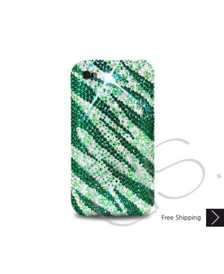 Zebra Wave Crystallized Swarovski Phone Case - Green