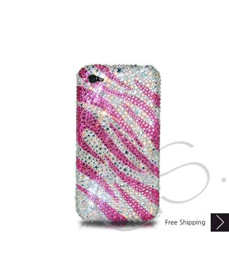 Zebra Wave Crystallized Swarovski Phone Case - Pink