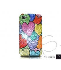 Multi Hearts Crystallized Swarovski Phone Case