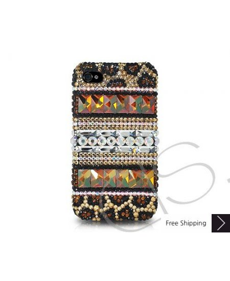 Stripe Print Crystallized Swarovski Phone Case - Gold