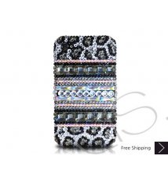 ストライプ プリント ブラック クリスタルスワロフ スキー電話ケース