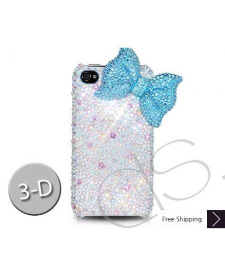Ribbon 3D Crystallized Swarovski Phone Case - Blue