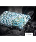 Rose 3D Crystallized Swarovski Phone Case - Blue