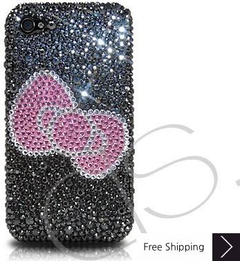 Ribbon Crystallized Swarovski Phone Case - Black
