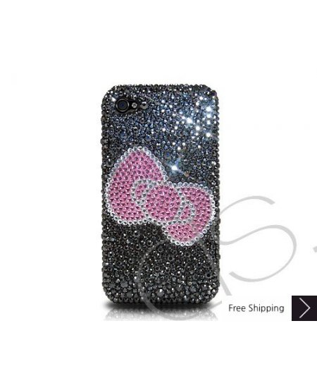 Ribbon Crystallized Swarovski Phone Case - Black