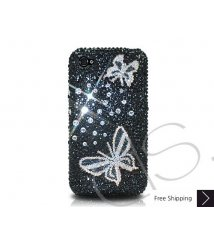 Butterfly Crystallized Swarovski Phone Case - Black
