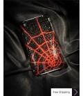 クモの巣のクリスタルスワロフ スキー電話ケース - レッド