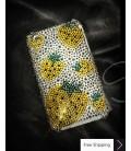 イチゴ黄色クリスタルスワロフ スキー電話ケース
