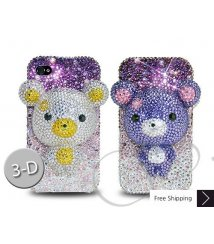 Gradation Bear 3D Flip Crystallized Swarovski Phone Case - Purple