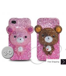 Bear 3D Flip Crystallized Swarovski Phone Case - Pink
