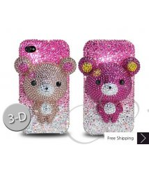 Gradation Bear 3D Flip Crystallized Swarovski Phone Case - Pink