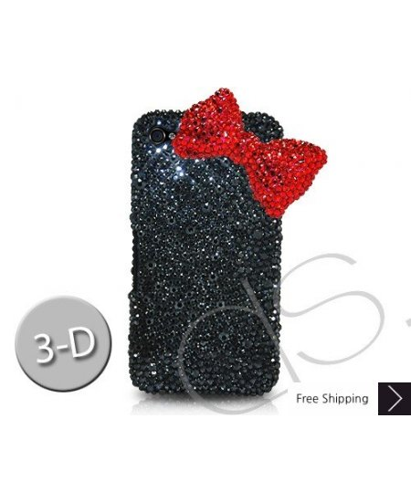 Red Ribbon Crystallized Swarovski Phone Case - Black