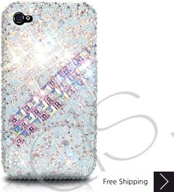 散布立方体のクリスタルスワロフ スキー電話ケース - ホワイト
