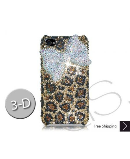 White Ribbon 3D Crystallized Swarovski Phone Case - Leopardo