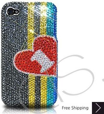 Stripe Hearts Crystallized Swarovski Phone Case