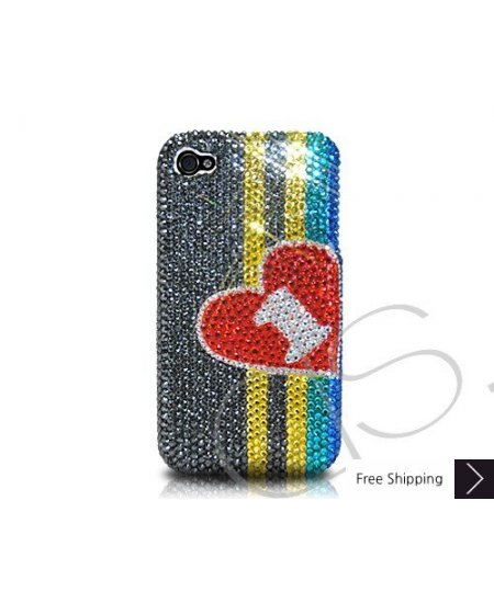 Stripe Hearts Crystallized Swarovski Phone Case