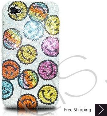 笑顔のアイコン結晶スワロフ スキー電話ケース