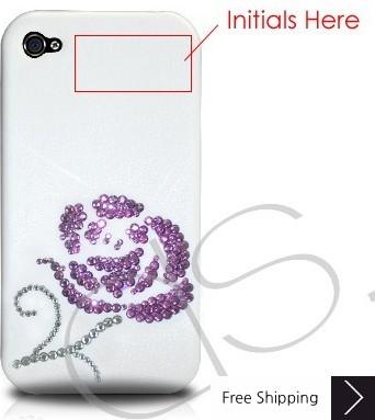 バラ科結晶スワロフ スキー電話ケース バレンタイン スペシャル (一目ぼれ) 紫色