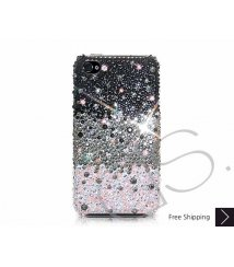 Gradation Swarovski Crystal Phone Case - Black