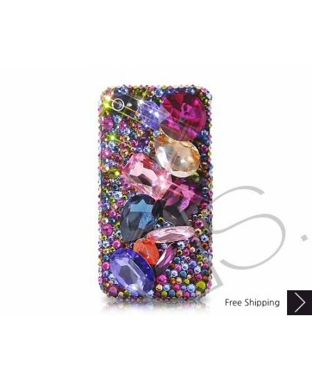 Colorato 3D Swarovski Crystal Phone Case - Blue