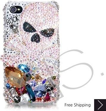 Rock Skull 3D Swarovski Crystal Phone Case - White