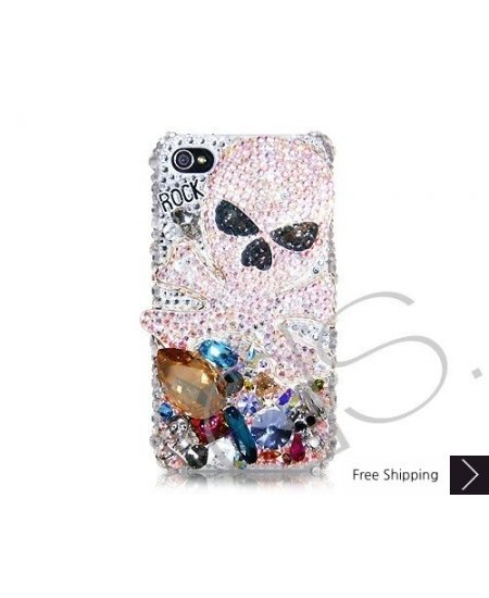 Rock Skull 3D Swarovski Crystal Phone Case - White