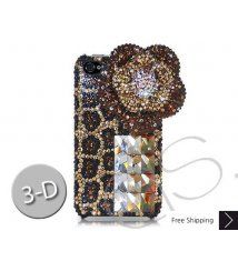 Floral Leopardo 3D Swarovski Crystal Phone Case - Brown