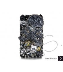 Rock Skull 3D Swarovski Crystal Phone Case - Black