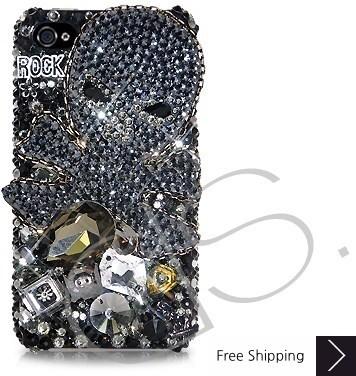 Rock Skull 3D Swarovski Crystal Phone Case - Black