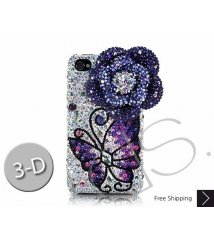 Floral Butterfly 3D Swarovski Crystal Phone Case - Blue