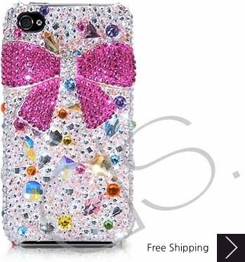 Brisk Bow 3D Swarovski Crystal Phone Case - Pink