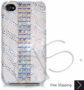立方体のストライプ スワロフ スキー クリスタル電話ケース