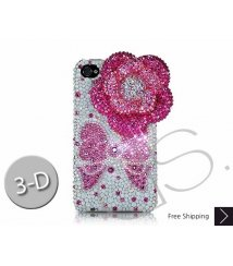 Floral Ribbon 3D Swarovski Crystal Phone Case - Pink