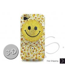 Smiling Face 3D Swarovski Crystal Phone Case - Yellow
