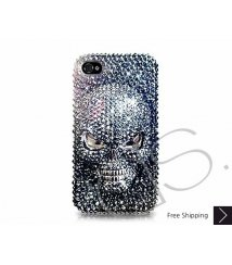 Scary Skull 3D Swarovski Crystal Phone Case - Black