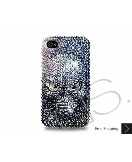 rivenditore all'ingrosso 8beda eab63 Scary Skull 3D Bling Swarovski Crystal iPhone XS and MAX iPhone XR Case -  Black