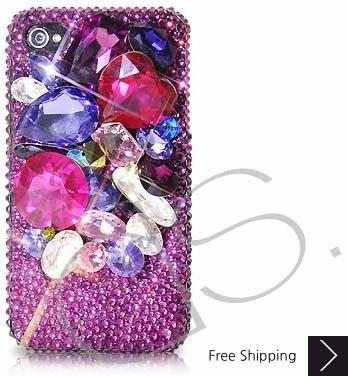 Colorato 3 D スワロフ スキー クリスタル電話ケース - 紫