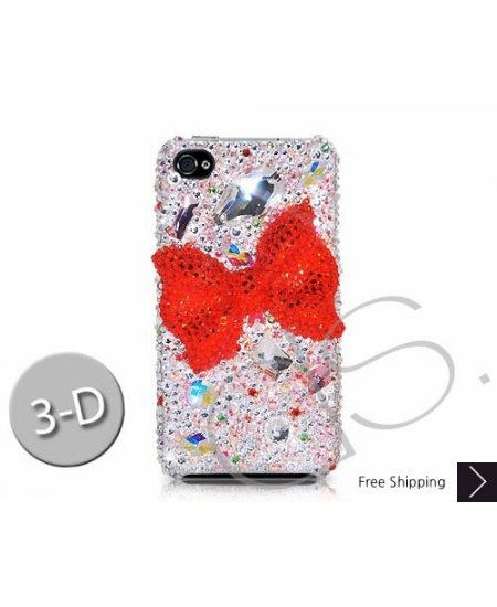 Shiny Ribbon 3D Swarovski Crystal Phone Case - Silver