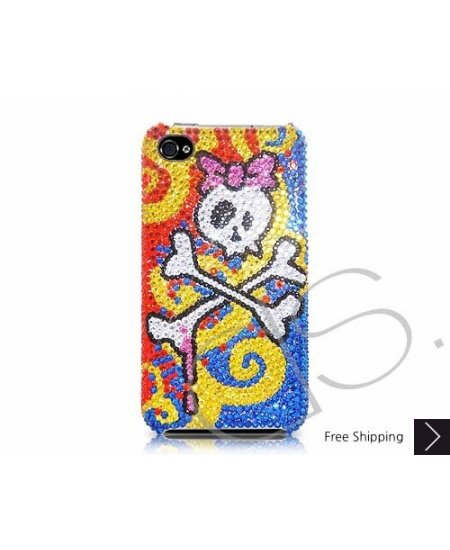 Cute Skull Swarovski Crystal Phone Case