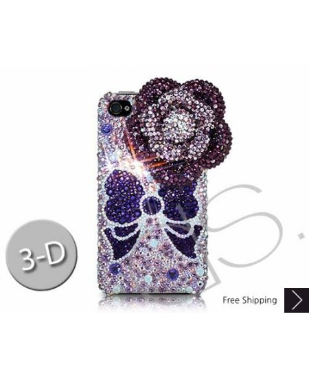 Floral Ribbon 3D Swarovski Crystal Phone Case - Purple