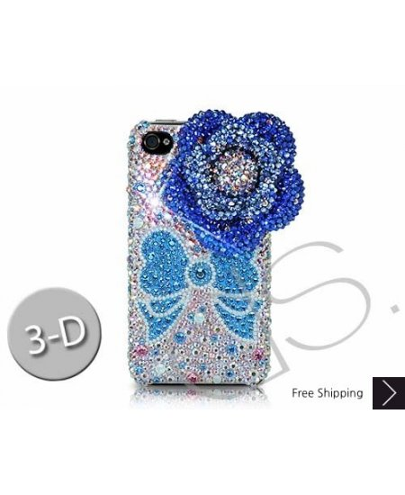 Floral Ribbon 3D Swarovski Crystal Phone Case - Blue