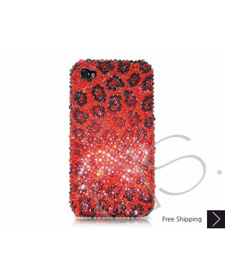 Leopardo Swarovski Crystal Phone Case - Red