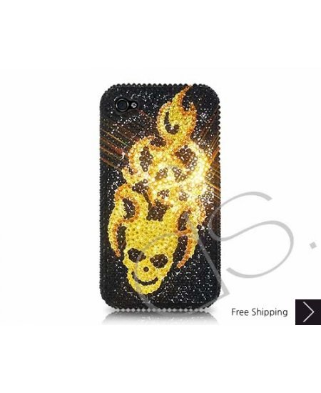 Flying Skull Swarovski Crystal Phone Case