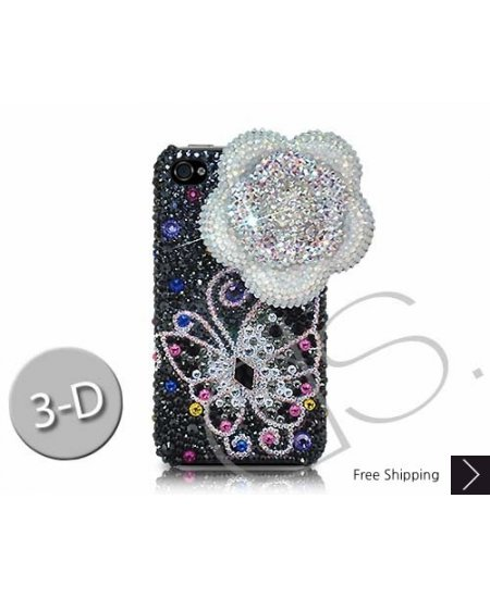 Floral Butterfly 3D Swarovski Crystal Phone Case - Silver