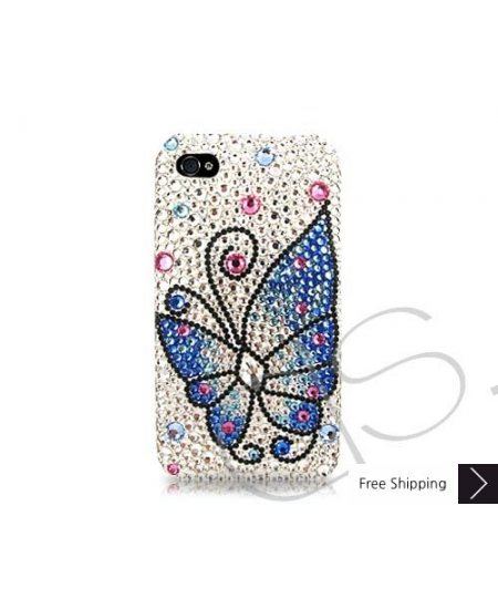 Butterfly Fantasy Swarovski Crystal Phone Case - Blue